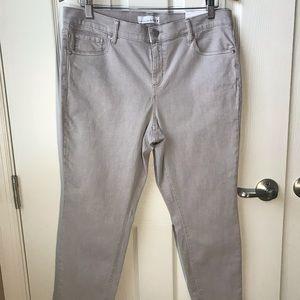 NWT LOFT Petite Gray Skinny Jean Fringe Bottom